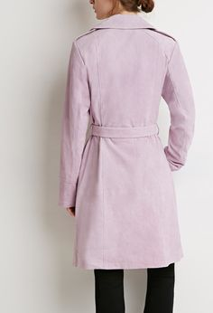Contemporary Genuine Suede Belted Trench Coat | LOVE21 - 2000184087