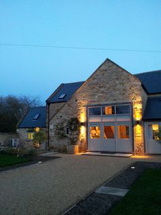 Barn Conversion doors with large windows option to pull shades, transom windows on top for light