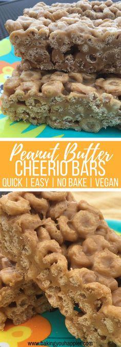 No Bake Vegan Peanut Butter Cheerio Bars