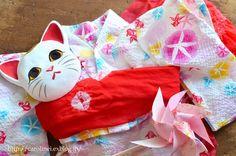 猫だって浴衣が着たい♪2015  Cat's Yukata-an informal cotton kimono for summer : お茶の時間にしましょうか-キャロ&ローラのちいさなまいにち- Caroline & Laura's tea break