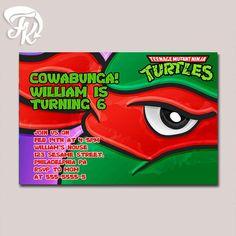 Teenage Mutant Ninja Turtle Raph Eye Birthday Party Card Digital Invitation Kid…