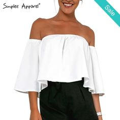 Off Shoulder Ruffle Blouse - Off the shoulder white or black ruffle blouse. 3/4 sleeve wide ruffle dressy blouse. Poly-cotton mix. Machine washable. - On Sale for $22.00 (was $28.00)