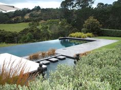 This rural swimming pool is a response to the environment. The infinity edge creates no barrier to the view. www.shaferdesign.co.nz
