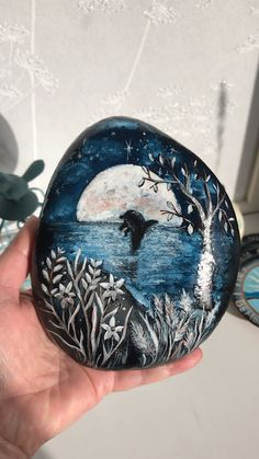 Dolphin in the Silver Moonlight painted rock by Christine Onward - ROCK ART Pebble Painting, Pebble Art, Hand Painting Art, Stone Painting, House Painting, Painting Videos, Stone Crafts, Rock Crafts, Rock Painting Designs