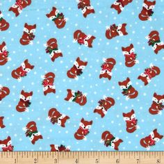 Timeless Treasures Jingle All the Way Flannel Foxes Sky from @fabricdotcom  Designed by Timeless Treasures, this soft, single-napped (brushed on one side) flannel is perfect for quilting and apparel. Colors include sienna, white, black, red, green, and sky blue.