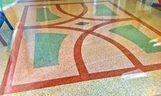 What is terrazzo flooring? A solid surface material invented back in the century by Venetian mosaic workers.Modern terrazzo flooring can be seen in Solid Surface, Terrazzo Flooring, Mosaic Floors, Terrazo, Floor Design, Design Design, Design Ideas, Art Deco Bar, Flooring Options