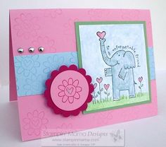 I have the punch for the circle and scallop already, for the elephant picture, use my watercolors