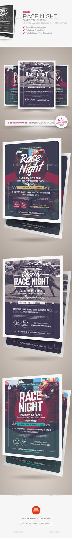 Race #Night #Flyer Templates - Miscellaneous #Events Download here: https://graphicriver.net/item/race-night-flyer-templates/19540543?ref=alena994