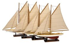 #Authentic models mini pond yachts, set of 4 - mini #sailing #boats set of 4,  View more on the LINK: http://www.zeppy.io/product/gb/2/182390778184/