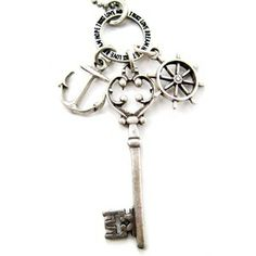 Skeleton Key Anchor and Helm Charm Necklace in Silver