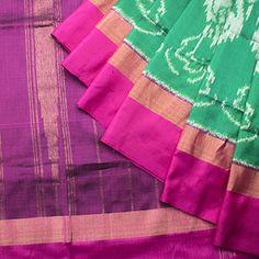 Organic Cotton; Off white w flower n ikat wave border, sari palla; Ikat bordered black blouse.