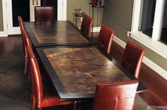 Custom Made Copper-Topped Patinated Dining Table