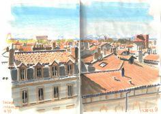 Sketchbook - Toits de Toulouse, ville rose
