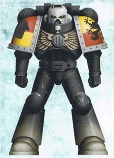 Veteran-Sergeant Parthus in Mark VIII Errant Power Armour, in Codex-approved Night World Colour Scheme.