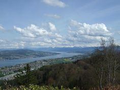Uetliberg, Switzerland - a view of the Zurichsee and the Alps in the distance. Zurich, Alps, Switzerland, Places Ive Been, Distance, Travel Destinations, New York, River, Adventure