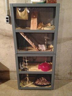 Just finished this home made rat cage for Callie and Allie:) Rat Cage Diy, Pet Cage, Chinchilla, Ferret, Dumbo Rat, Hamster Cages, Fancy Rat, Love My Kids, Little Pets