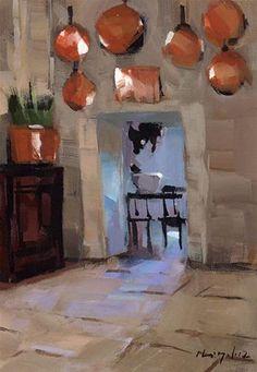 """""""Copper Pots - Quick Study"""" - Original Fine Art for Sale - © David Lloyd"""
