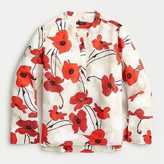 J. Crew Tops | J Crew Silk Poppy Print Classic Blouse Size 6 | Poshmark Casual Couture, Silk Tunic, Crew Clothing, Boys Shirts, Colorful Shirts, Poppies, J Crew, Floral Prints, Cute Outfits