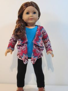 American girl doll clothes  3 pc Saige inspired by JazzyDollDuds, $24.00. The t shirt and leggings were made with Liberty jane patterns.  The cascade jacket was made with a Suzy M Studio pattern.