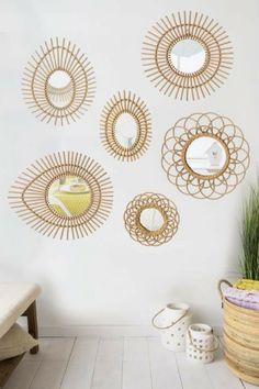 SUNNY Miroir en rotin de forme ovale 47 215 58 c Grey Home Decor, Cute Home Decor, Diy Outdoor Furniture, Diy Furniture, Unique Mirrors, Room Paint Colors, Bohemian Interior, Diy Home Crafts, Baskets On Wall