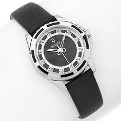 Bulova Ladies' Round Case Diamond Marker Black Leather Strap Watch at HSN.com.