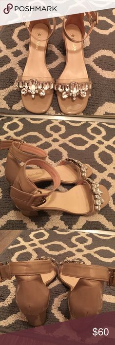 MiuMiu style Anita Lee rhinestone sandals in nude MiuMiu inspired nude color crystal sandals by Chinese designer Anita Lee. Purchased in Asia. Worn once. (I'm not a big fan of heels) Size 6.5. Goes well with everything. Anita Lee Shoes Sandals