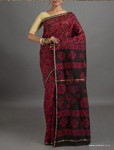 Laila Black with Color Passionate Flowers #BatikPrintSaree