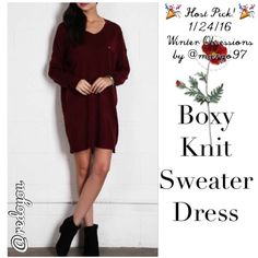 "HPONLY 1 LEFT - NEW! Very J Boxy Sweater Dress  Host Pick! 1/24/16 Winter Obsession by @margo97  Super luxurious wine colored sweater dress by Very J...relaxed, boxy style with an oversized pocket on the front...looks adorable with a pair of boots and you can even add a belt to get a different look...trust me, you want this dress...it's my new go to dress!! Size S Length (shoulder to hem): 33"" Chest (armpit to armpit): 25"" flat ‼️FINAL PRICE UNLESS BUNDLED‼️ Very J Dresses Mini"