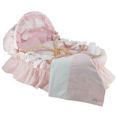 Wendy Anne Egyptian-Quality Cotton Moses Basket Bedding Set With Canopy Color: