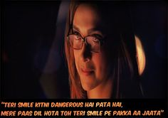 Do you even realize how dangerous your smile is? If I had a heart, then it would definitely fall for your smile. Yjhd Quotes, Tv Quotes, Movie Quotes, Romantic Dialogues, Poetry Text, Into The Woods Quotes, Bollywood Quotes, Movie Talk, Lights Camera Action