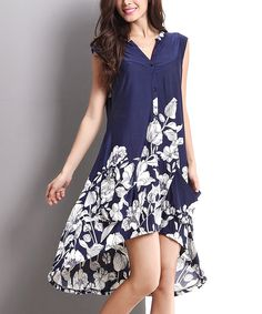 Navy Floral Sleeveless Hi-Low Button-Front #Dress