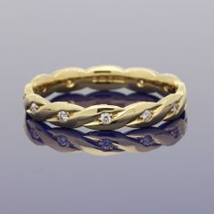 18ct Yellow Gold & Diamond Twisted Band £995.00 Wedding Bands, Our Wedding, Gold Art, Engagement Rings, Yellow, Diamond, Metal, Jewelry, Style