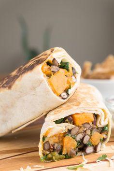 Spinach, Sweet Potato & Black Bean Burritos | recipe at http://OatandSesame.com