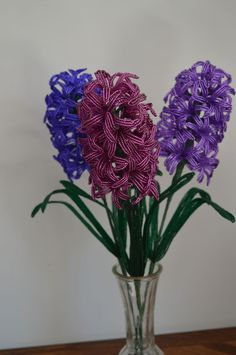 NEW Handmade French beaded flowers Purple Magenta Hyacinth flower
