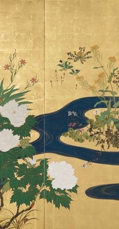 Plants and flowers of the four seasons and flowing water. Pair of two-panel folding screens. The Painted Veil, Art Occidental, Folding Screens, Japanese Screen, Japanese Waves, Traditional Japanese Art, Decorative Screens, Edo Period, Japanese Painting