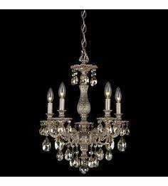 Schonbek Milano 5 Light Chandelier in Gilded Pewter and Golden Shadow Swarovski Elements Colors Trim 5674-89GS #lightingnewyork #lny #lighting