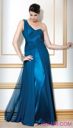 Jovani: Satin and Sheer Crossover Gown from Runway
