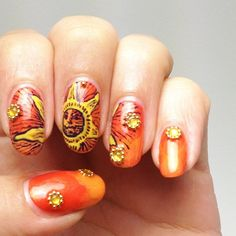 solar flare by kellyohstein  #nail #nails #nailart