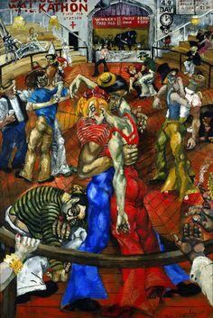 """""""Dance Marathon"""", 1934 de Philip EVERGOOD - Courtesy Blanton Museum of Art  exposition La peinture américaine des années 1930 «The Age of Anxiety» au Musée de l'Orangerie  jusqu'au 30 janvier 2017. Une exposition très particulière, qui questionne ..."""