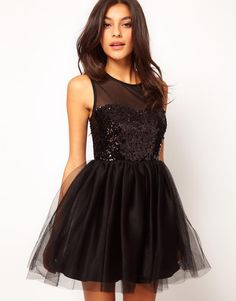 2013 Prom Dress Ideas for Teens: Black Sequin Bodice Dress from Asos
