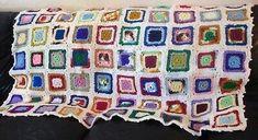 Crochet vintage solid granny squares blanket, some variegated yarn, white backg. Crochet vintage solid granny squares blanket, some variegated yarn, white backg… Crochet vintag Granny Square Slippers, Granny Square Quilt, Flower Granny Square, Granny Squares, Afghan Blanket, Vintage Crochet, Crochet Granny, Blanket Crochet, Crochet Yarn