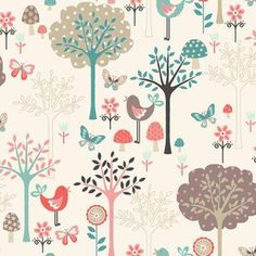 Coming soon to Hawthorne Threads:  Flos Garden, a delightful woodland bird and tree fabric