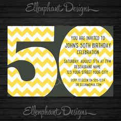 Big number 50th Birthday Invitation, also suit 30th, 40th, 60th, yellow  Gray, chevron, men, custom invite, digital file, you print on Etsy, $15.00