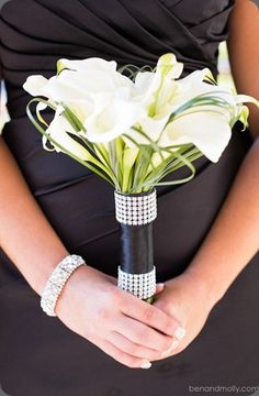 White Arum lilies with black ribbon and crystals