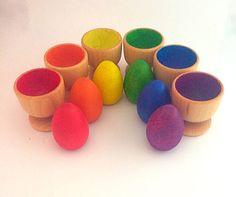 Huevo de madera ordenar juguetes juego educativo por PlayIsTheWay
