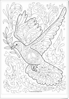 Our dove doodle colouring page is so pretty with lots of detail - we hope it will appeal to older kids and adults too. Perfect for MLK Day and International Peace Day perhaps. Doodle Coloring, Mandala Coloring, Colouring Pages, Adult Coloring Pages, Coloring Pages For Kids, Coloring Books, Colouring Sheets, Peace Art, Peace Dove