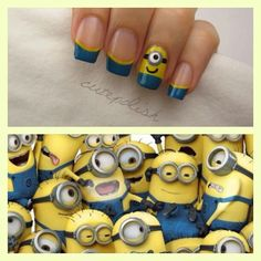 Despicable Me nails- yay minons!