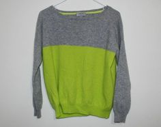 Women's JCP 100% Cashmere Colorblocking Gray & Lime Green Sweater Size: Large