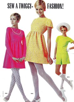 Twiggy models dresses in McCall's, 1968 60s colorful mini dress baby doll yellow pink green photo print ad model  www.vintageclothin.com