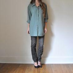 Slouchy SILK BLOUSE  //  Oversize Sage Green Womens Silk Shirt  //  Early 90s Collared Shirt  //  Longsleeve Button Down